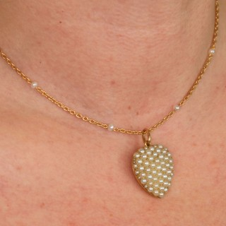 Seed Pearl 15ct Yellow Gold Heart Shaped Pendant - Antique Circa 1890