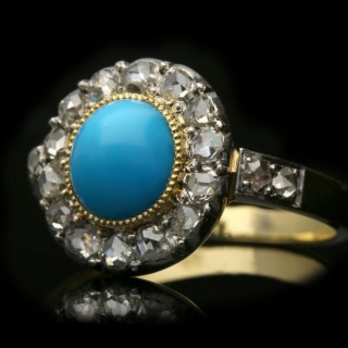 Antique turquoise and diamond ring, French, circa 1901.