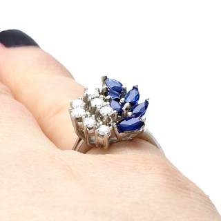 1.1ct Sapphire and 0.60ct Diamond 14ct White Gold Cocktail Ring - Vintage Circa 1960