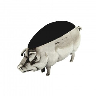 Antique Edwardian Sterling Silver Pig Pin Cushion 1908