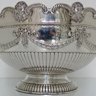 Victorian Antique Silver 19th Century Monteith/Rose bowl London 1881 John Aldwinckle & James Slater