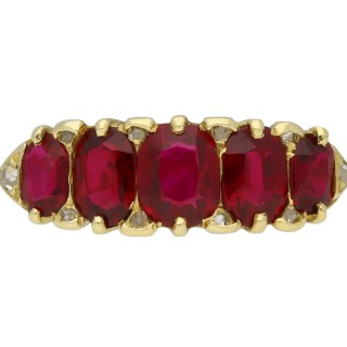 Antique ruby five stone ring, English, circa 1890.