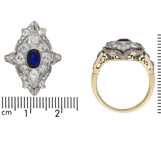 Edwardian sapphire and diamond ring, circa 1910.