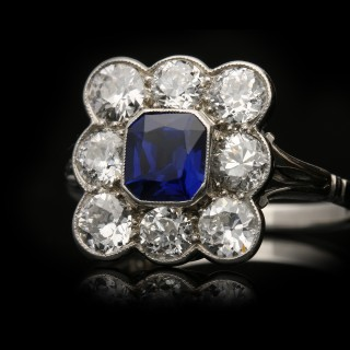 Antique sapphire and diamond coronet cluster ring, English, circa 1920