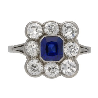 Antique sapphire and diamond coronet cluster ring, English, circa 1920
