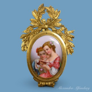 A Small Charming Meissen Plaque In Gilt Metal Frame