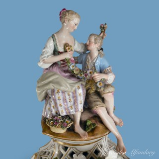 A Large And Elegant  Meissen Porcelain Clock And Stand