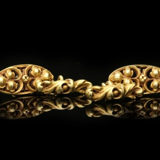 Gothic revival gold cufflinks by Wièse, French, circa 1885.