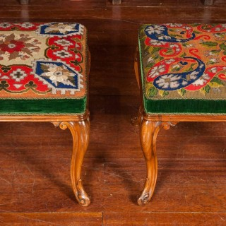 Pair of Walnut Stools, 19th Century, with Berlin Needlework Covers