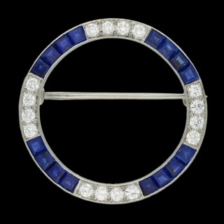 J. E. Caldwell sapphire and diamond brooch, American, circa 1925.
