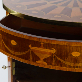 18th Century Georgian Demi-Lune Commode of Satinwood, Tulipwood and Harewood