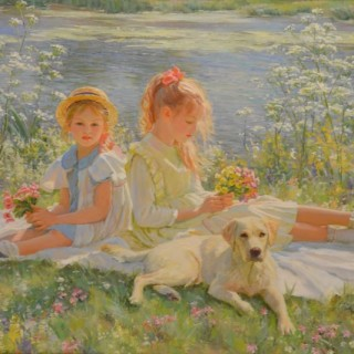 Young Girls on a River Bank