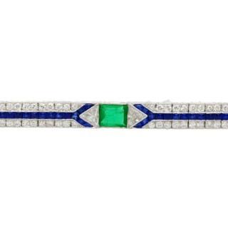 1.16ct Emerald, 1.90ct Sapphire and 3.06ct Diamond Platinum Art Deco Brooch - Antique Circa 1925