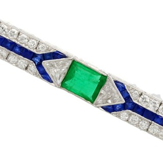 1.16ct Emerald, 1.90ct Sapphire and 3.06ct Diamond Platinum Art Deco Brooch - Antique Circa 1925