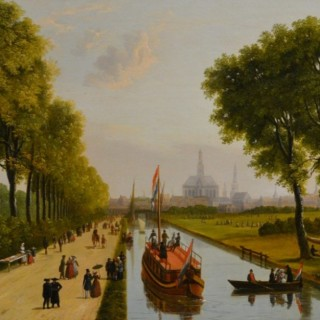 A Dutch Canal Scene, with a City c. 1790-1838