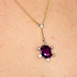 7.13ct Amethyst and 1.06ct Diamond 9ct Yellow Gold Palladium Set Pendant - Antique Circa 1920