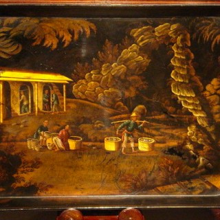 19th Century Papier Mache Tray with Chinoiserie Scene depicting tea packers and carriers in a wooded outcrop, circa 1820.