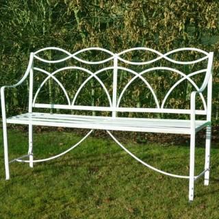 A Regency wrought iron garden seat
