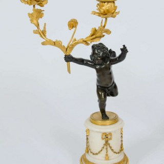 Pair of Late 18th Century French Bronze Ormolu and Marble Candelabra