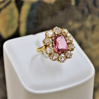 An Extraordinary  and Rare 3.00 Carat Natural Pink Spinel & Diamond Cluster Ring set in 18 Carat Yellow Gold, Circa 1900.