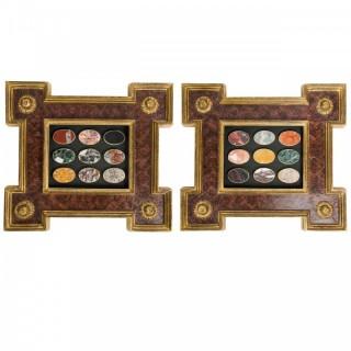 Pair of Framed Lapidarium or marble samplers