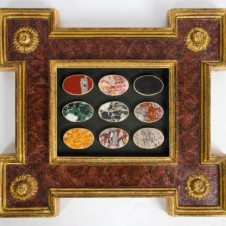 Pair of Framed Lapidarium or marble samplers