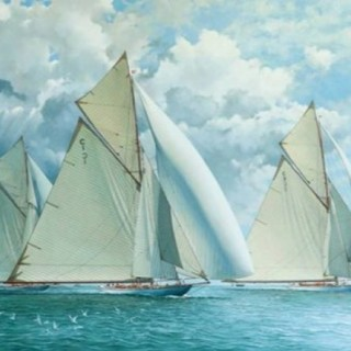 19 Metre yachts racing during Cowes Week, 1912