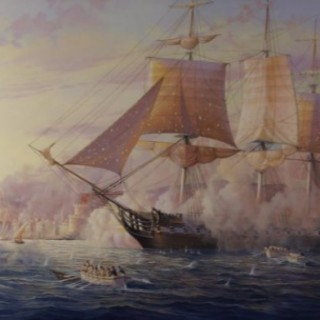 The Bombardment of Tripoli by the USS Constitution and an American fleet, 1803.