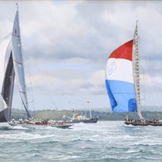 Ranger and Velsheda running under Spinnakers, 2012