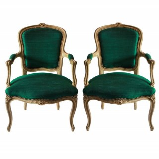 A PAIR OF XVIII CENTURY FRENCH ARMCHAIRS IN EMERALD SILK