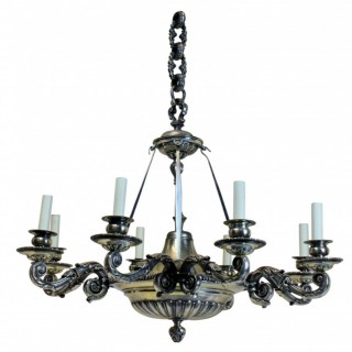 A LARGE CHARLES II STYLE SILVER PLATED BRONZE CHANDELIER