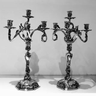 Pair French Antique Four Light Cast Silverplate Candelabra Circa 1865