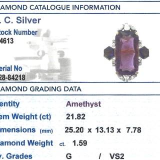 21.82 ct Amethyst and 1.59 ct Diamond, 18 ct Yellow Gold Dress Ring - Vintage Circa 1970