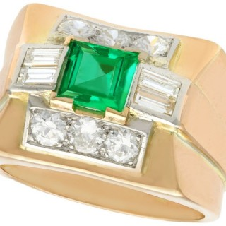 1.02ct Emerald and 1.05ct Diamond, 18ct Yellow Gold Dress Ring - Vintage Circa 1940