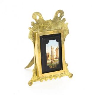 Antique Micromosaic Easel Photo Frame G.Roccheggiani Rome 19th Century