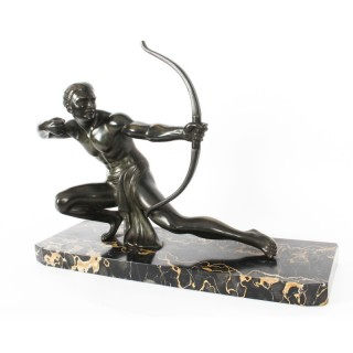 Antique Large Art Deco Bronze Figure of an Archer by Salvatore Melani C1920