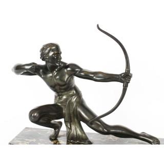 Antique Large Art Deco Bronze Figure of an Archer by Salvatore Melani C1920