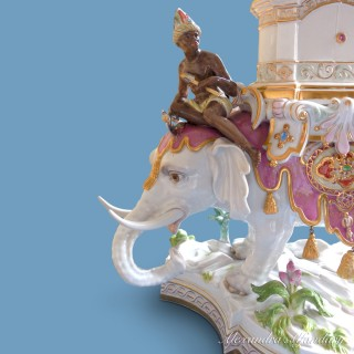 A Magnificient Meissen Elephant with Soldiers