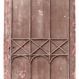 An Antique Gothic Style Arched Studded Door