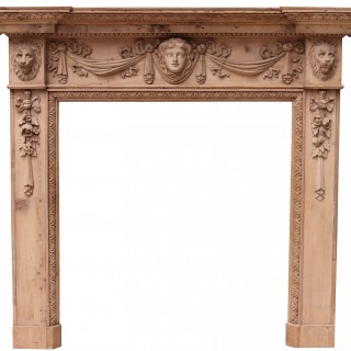 An Antique Carved Pine Fire Surround in The Style of William Kent