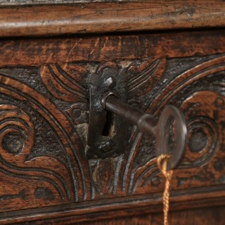 Antique English 17th Century Charles II Oak Carved Three Panel Coffer Chest Blanket Box Trunk (Circa 1680)