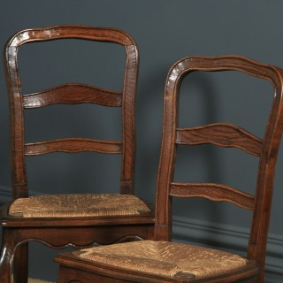 Antique French Set of 4 Four Louis XV Style Oak Ladder Back Kitchen Dining Chairs (Circa 1910)