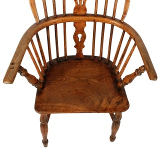 Rustic Elm Windsor Arm Chair
