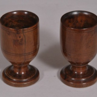 Antique Treen 19th Century Pair of Fruitwood Egg Cups