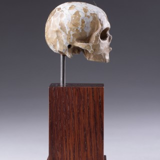 A German Carved and Polychromed Lime-wood Small 'Memento Mori' Skull