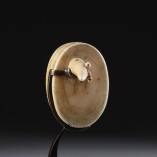 Marquesas Islands Whale Tooth Man's Ear Ornament 'Hakakai' Carved with a Tiki Figure