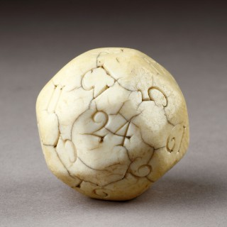 Rare English Queen Anne Carved Ivory Teetotum Gambling Lottery Ball dated 1708
