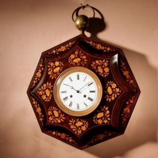A Very Decorative Rosewood/Palisandre Inlaid with Lemon Wood French Wall Clock