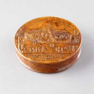 Erotic French Pressed Burr Walnut Snuff Box