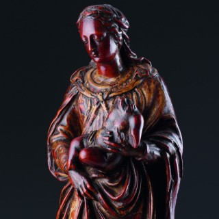 French Renaissance Carved and Stained Boxwood Devotional Figure of the Virgin and Christ Child